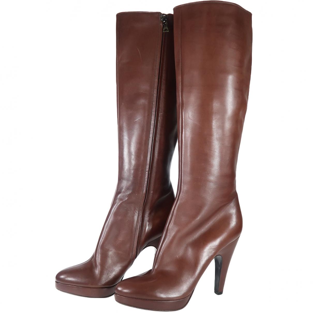 Prada \N Brown Leather Boots for Women 40 EU