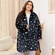 Plus Allover Star Belted Hooded Flannel Robe