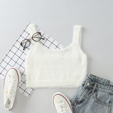 Fuzzy Solid Crop Knit Top