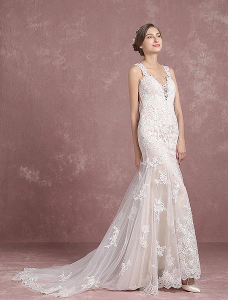 Milanoo Summer Wedding Dresses 2020 Lace Champagne Straps Mermaid Bridal Gown Backless Beaded Sleeveless Chapel Train Bridal Dress