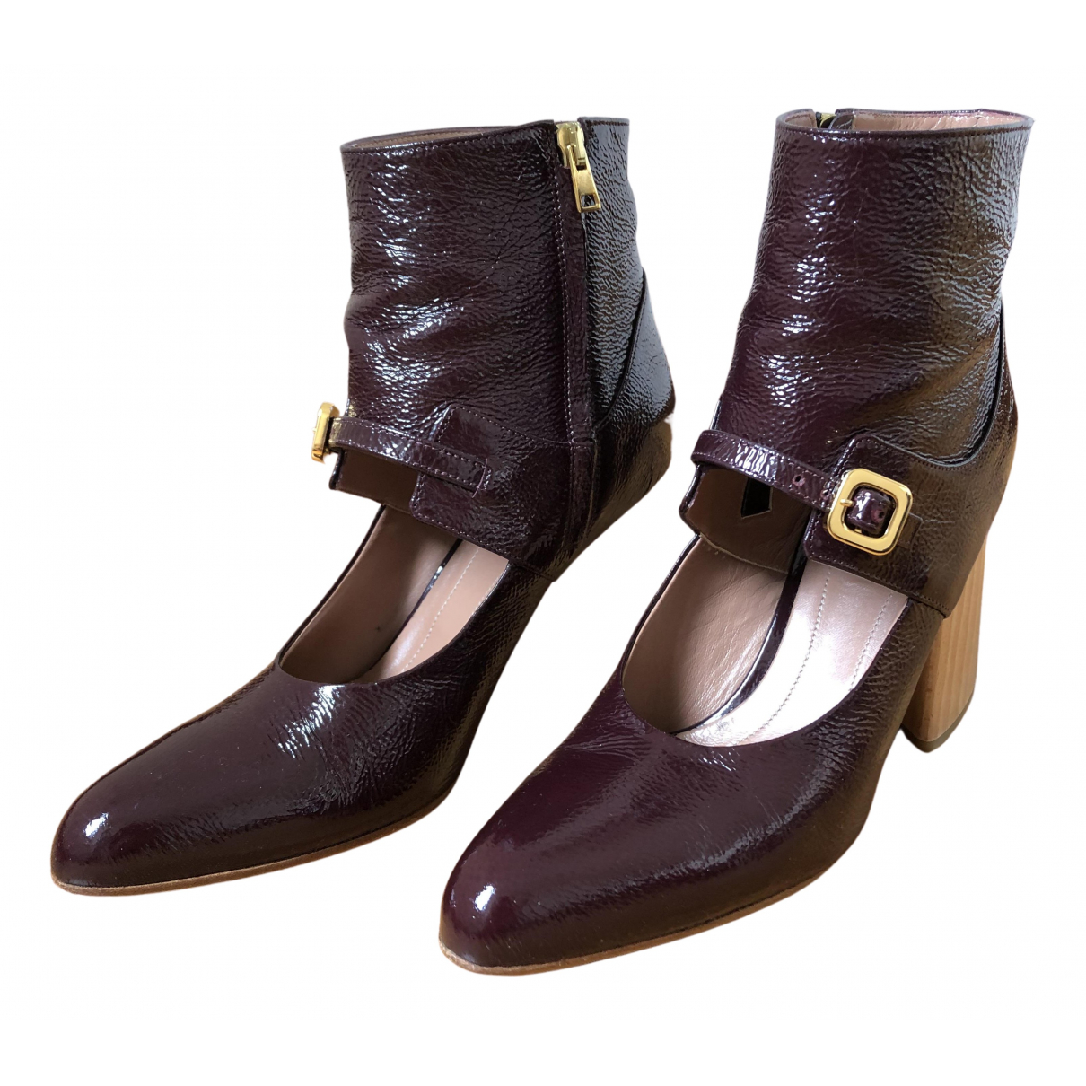 Marni N Purple Patent leather Ankle boots for Women 39 IT