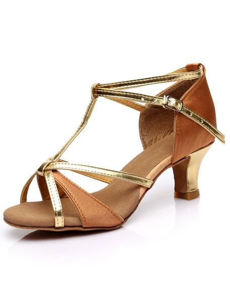 Milanoo Negro Zapatos de Baile Zapatos de Salon de Baile con Lentejuelas con Punta Abierta Tipo de T con Correa de Tobilla 2020 Zapatos de Baile Latin