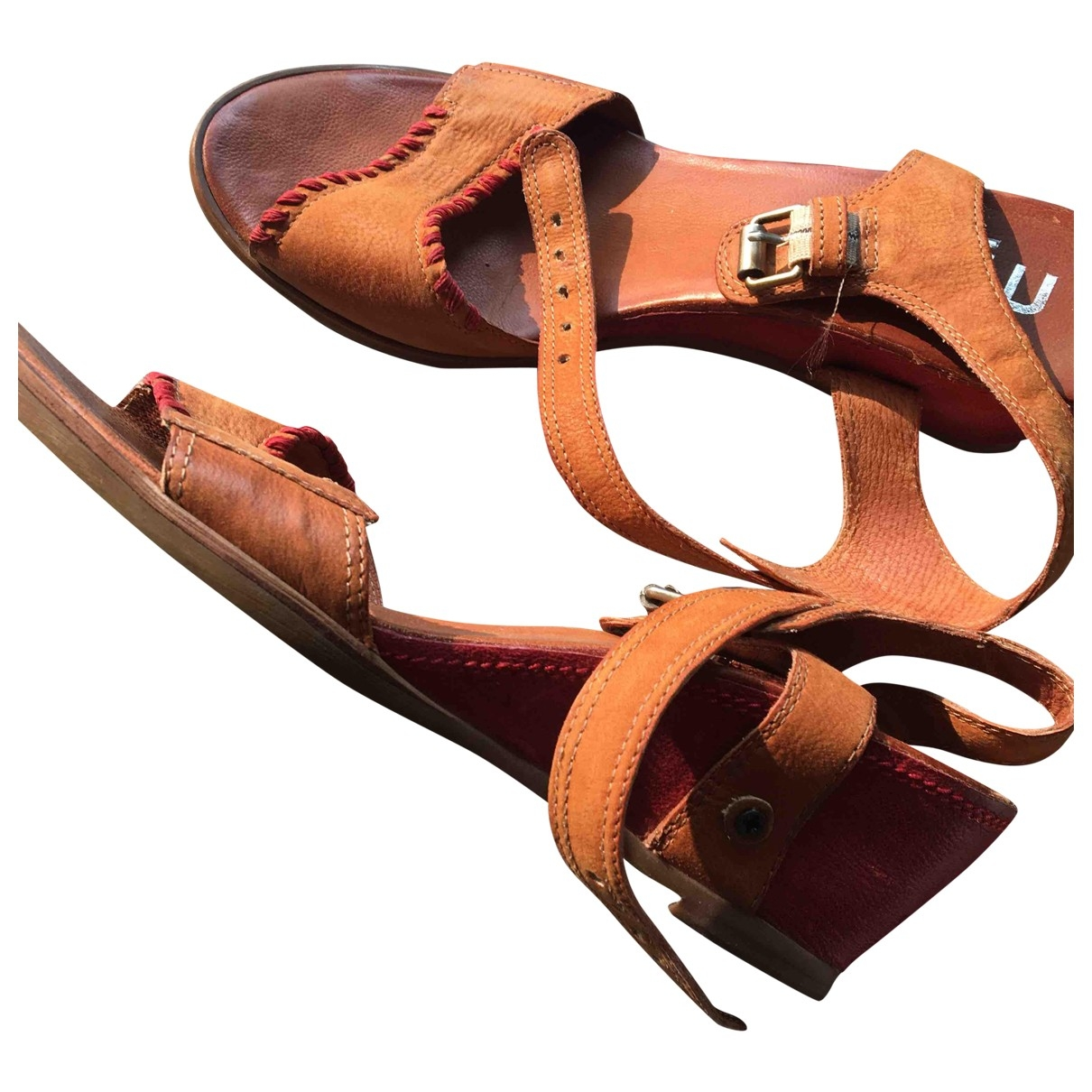 Non Signé / Unsigned \N Camel Leather Sandals for Women 41 EU