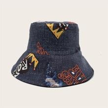 Men Letter Graphic Bucket Hat