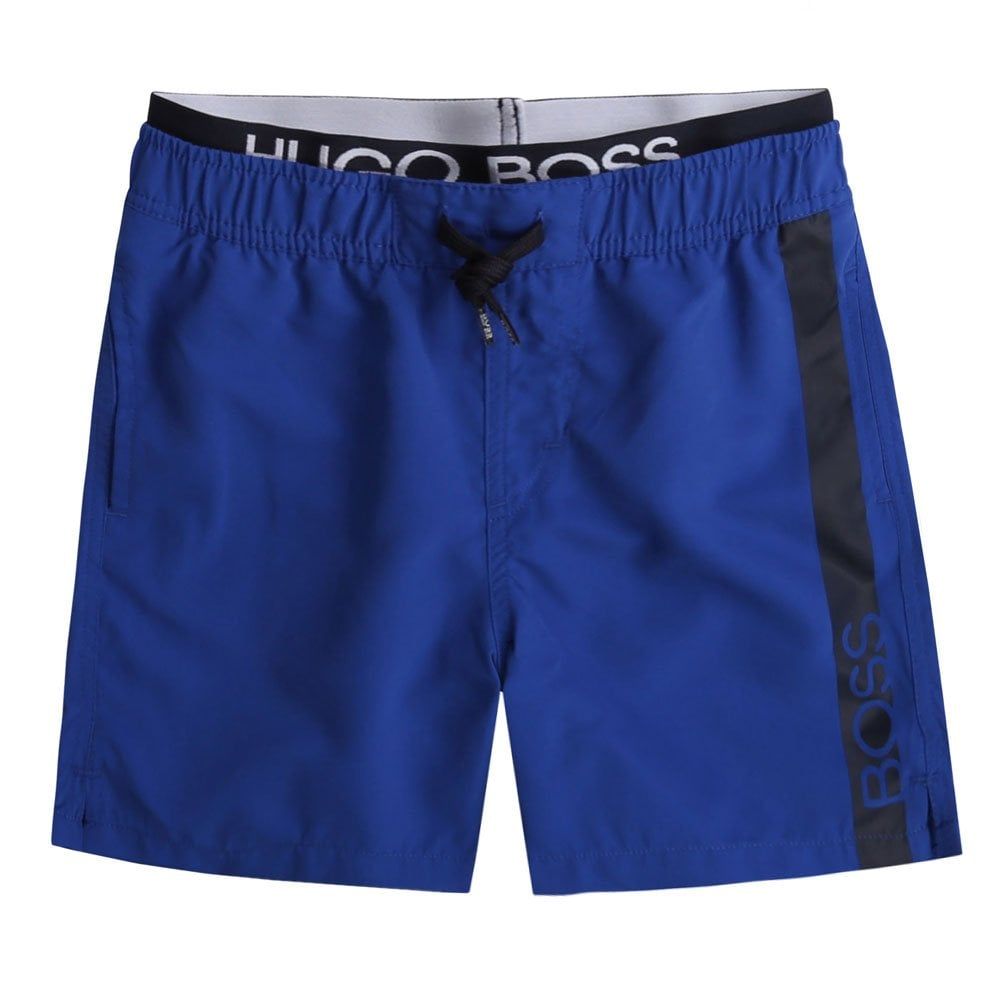 Hugo Boss Kids Waist Logo Swimshorts Colour: BLUE, Size: 14 YEARS