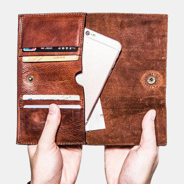Men PU Leather Retro Solid 6.3 Inch Phone Long Leather Wallet Bifold Clutch Wallet
