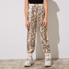 Girls Ribbed Waist & Hem Snakeskin Pants
