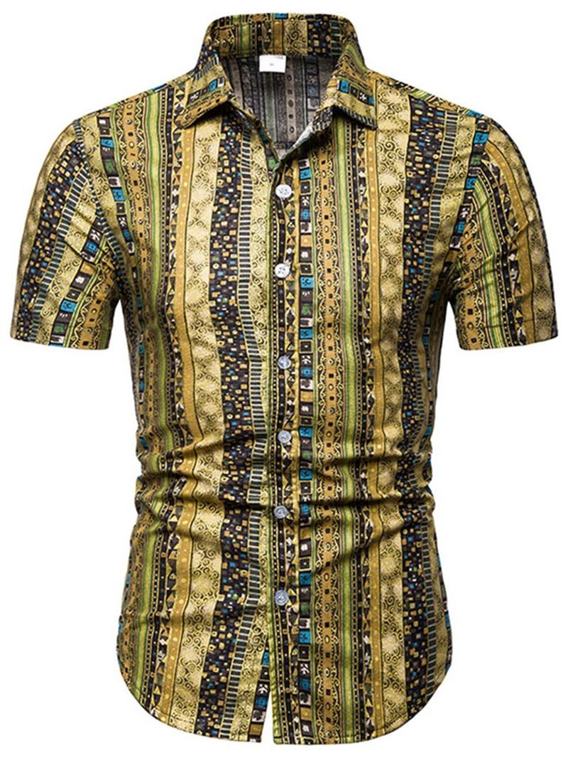 Ericdress Print Lapel Geometric Single-Breasted Shirt