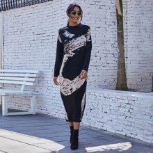 Colorblock Ribbed Knit Longline Sweater Dress