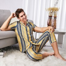 Men Lapel Striped Button Front PJ Set