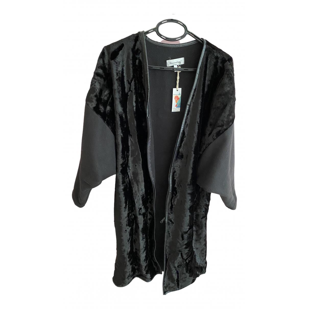 - Manteau Oversize pour femme en fourrure synthetique - noir