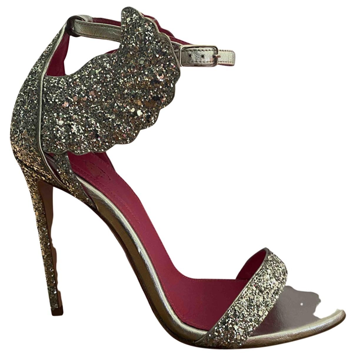 Oscar Tiye \N Silver Glitter Sandals for Women 37 EU