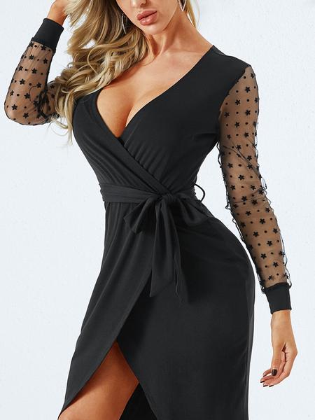 YOINS Black Lace Patchwork Deep V Neck Long Sleeves Dress