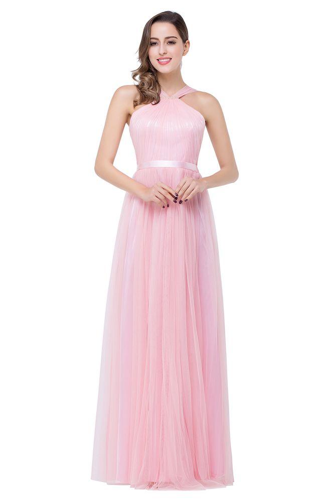 JULIETTE   Vestidos de dama de honor de tul de color rosa a nivel de piso hasta la faja con fajin de cinta