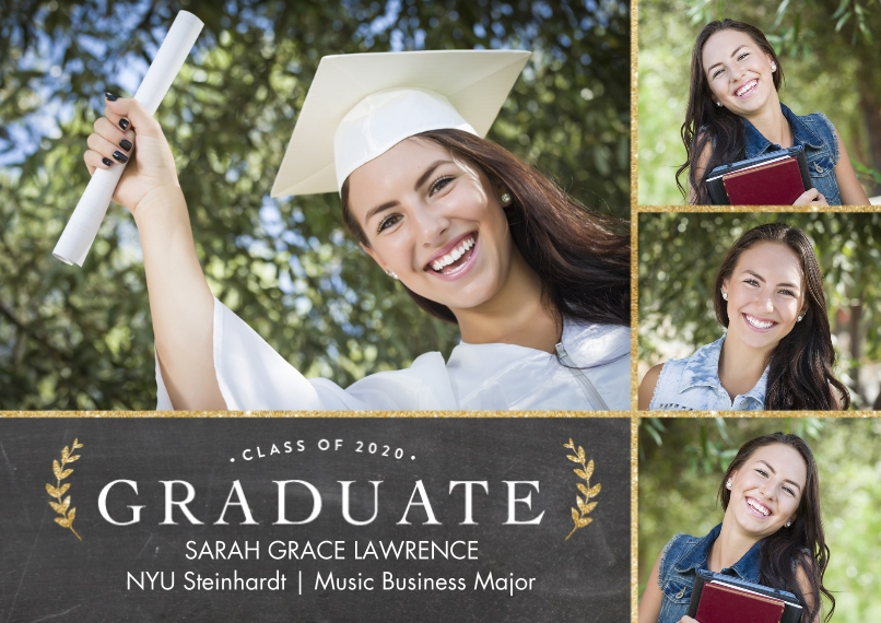 2020 Graduation Announcements Flat Glossy Photo Paper Cards with Envelopes, 5x7, Card & Stationery -2020 Graduate Gold Laurels by Tumbalina