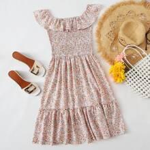 Ditsy Floral Shirred Bardot Dress