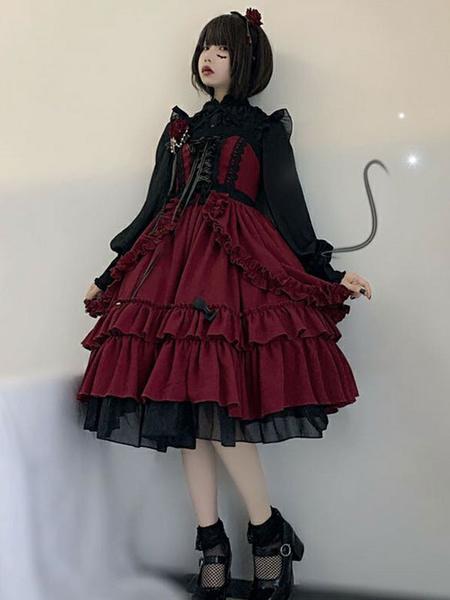 Milanoo Black Gotic Lolita JSK Dress Neverland Burgundy Sleeveless Bows Cascading Ruffles Seven Deadly Sins Wrath Lolita Jumper Skirts