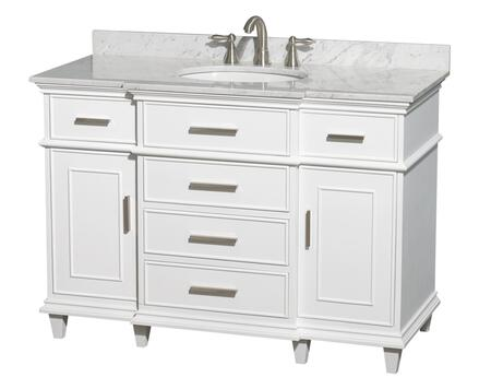 WCV171748SWHCMUNRMXX 48 in. Single Bathroom Vanity in White with White Carrera Marble Top with White Undermount Oval Sink and No