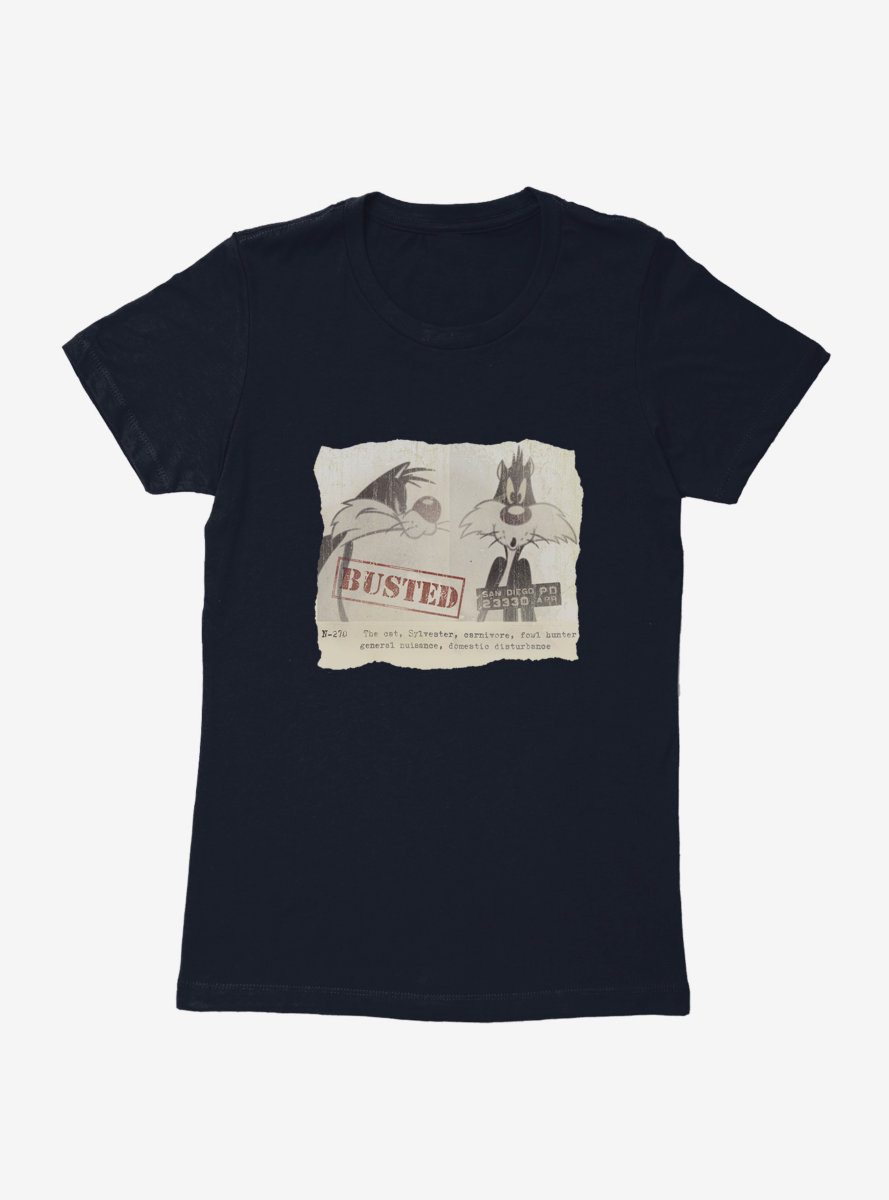 Looney Tunes Sylvester Wanted Poster Womens T-Shirt