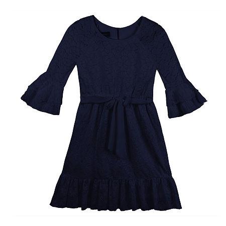 Amy Byer Big Girls 3/4 Flutter Sleeve Skater Dress, Large (14) , Blue
