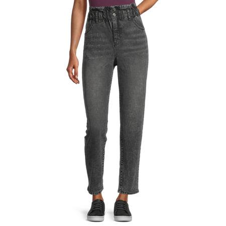 Rewind Womens High Rise Straight Fit Jean - Juniors, 1 , Black