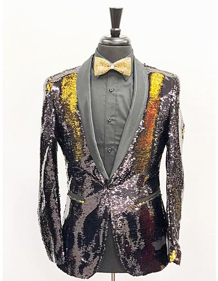 Men's Slim Fit Gold ~ Black Single Breasted One Button Blazer