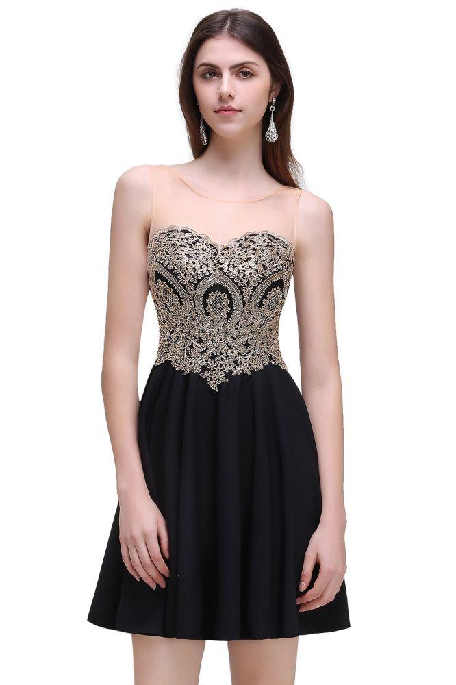 CAITLIN   Una linea de gasa corta vestidos de fiesta negro con apliques