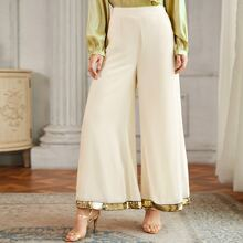 Zipper Side Sequin Tape Hem Palazzo Pants
