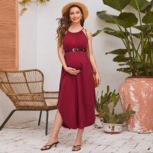 Maternity Einfarbiges Kleid mit gebogenem Saum und Neckholder ohne Guertel