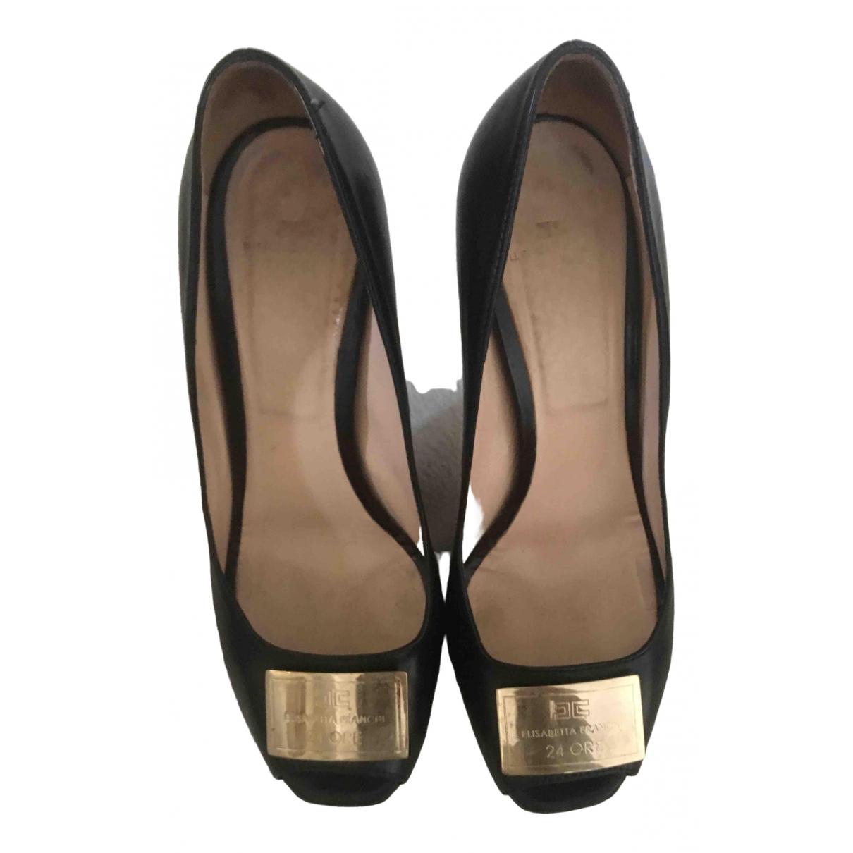 Elisabetta Franchi \N Black Leather Heels for Women 39 EU