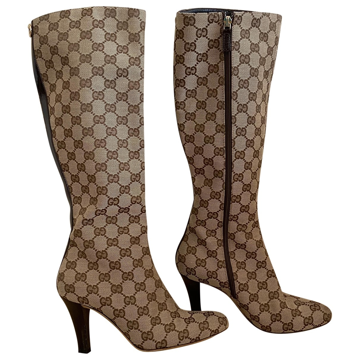 Gucci - Bottes   pour femme en toile - beige