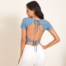 Tied Open Back Lace Trim Crop Top
