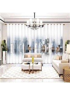 3D European Style Vesperal City Scene Printing Sheer Curtains