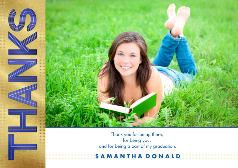 Graduation Thank You Cards 5x7 Cards, Standard Cardstock 85lb, Card & Stationery -Bold Striped Thanks