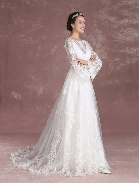 Milanoo Summer Wedding Dresses 2020 Boho Lace Beach Bridal Dress Bell Sleeve Illusion V Back Chapel Train Bridal Gown