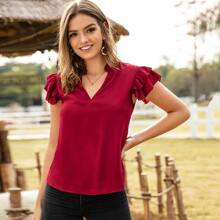 Solid Notched Butterfly Sleeve Blouse