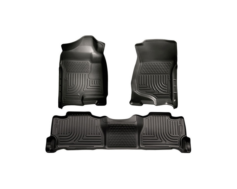 Husky Floor Liners Front & 2nd Row 07-14 Escalade/Avalanche/Suburban/Yukon (Footwell Coverage) WeatherBeater-Black