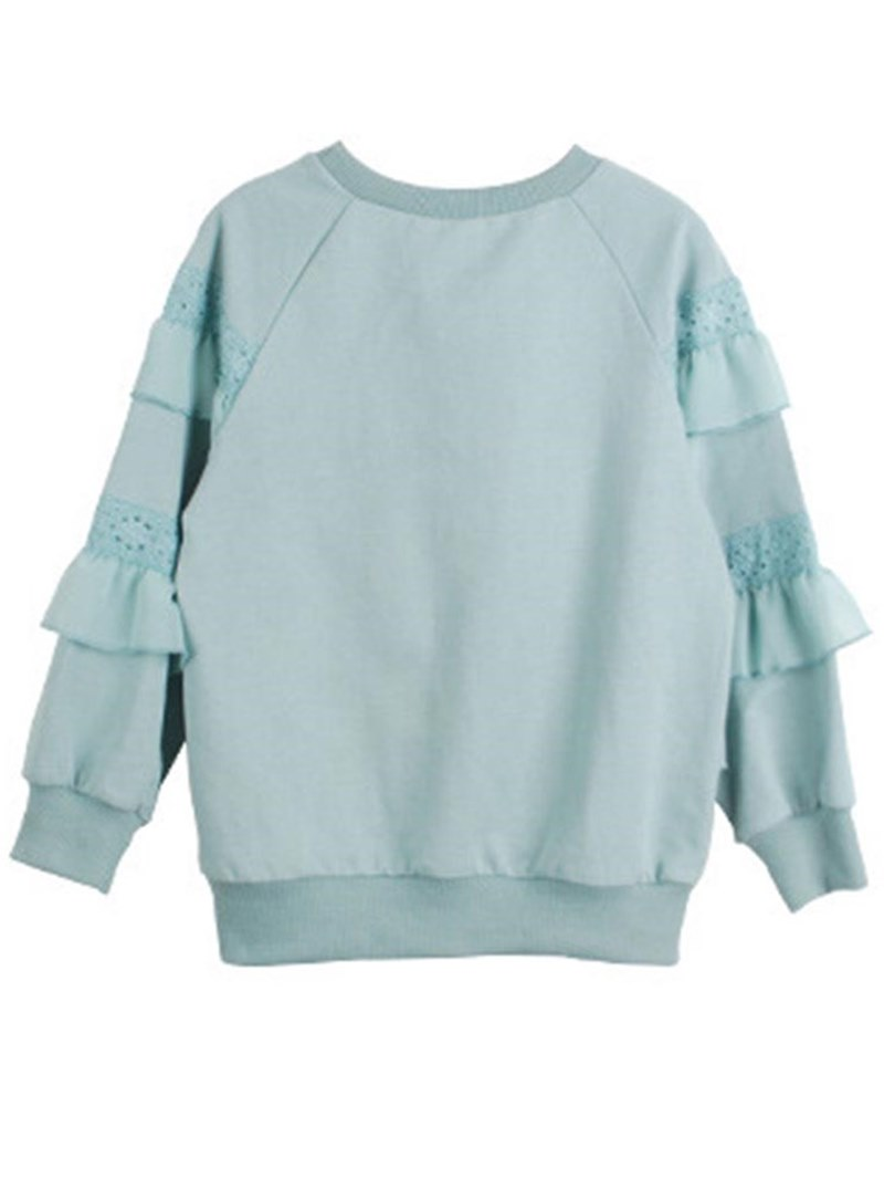Ericdress Ruffles Lace Plain Scoop Girl's Pullover Plain Hoodies