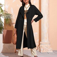 Double Button Belted Waterfall Coat
