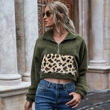 Crop Teddy Sweatshirt mit Leopard Muster und halbem Reissverschluss