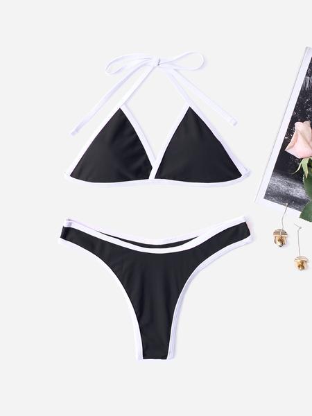 Yoins Black Plain Halter Bikini Set
