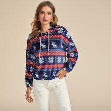 Sweatshirt mit Muster und Kordelzug
