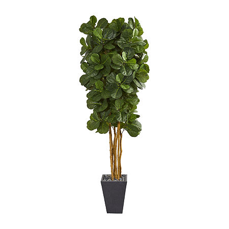 Nearly Natural Fiddle Leaf Artificial Tree In Slate Planter, One Size , Green