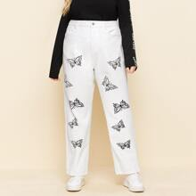 Plus Butterfly Print Slant Pocket Jeans