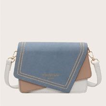 Color Block Asymmetrical Flap Crossbody Bag