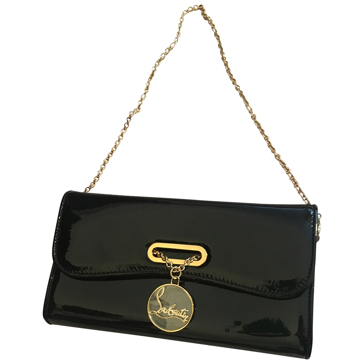 Christian Louboutin \N Clutch in  Schwarz Lackleder