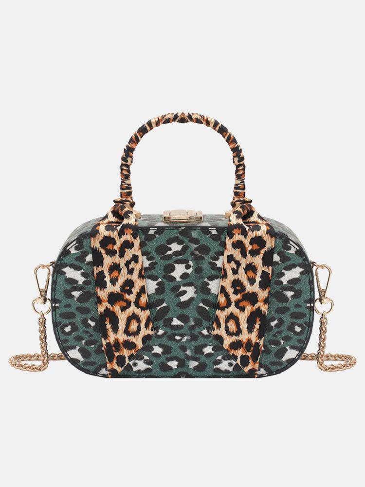 Women Leopard Pattern Chains Handbag Crossbody Bag Satchel Bag