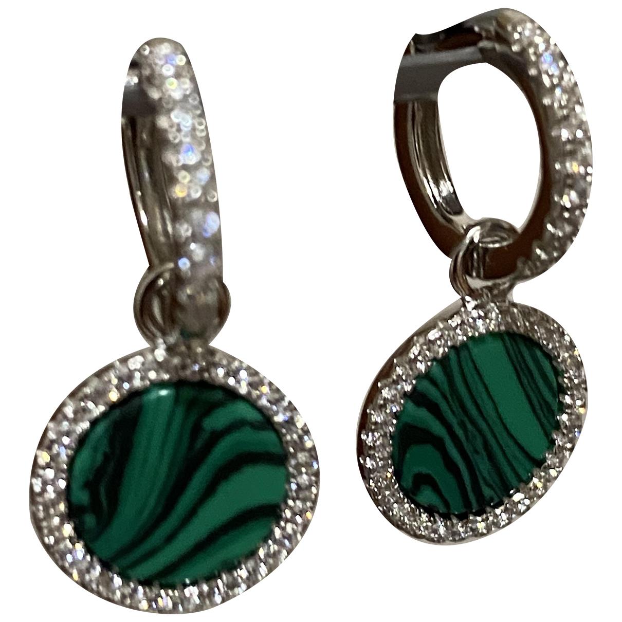 - Boucles doreilles   pour femme en argent - vert