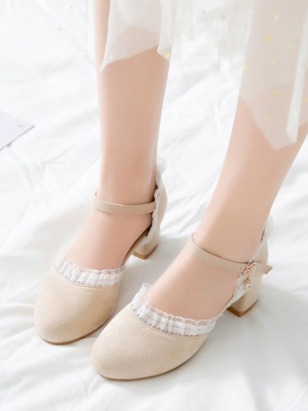 Milanoo Sweet Lolita Footwear Round Toe Suede Lolita Shoes
