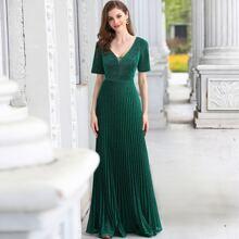 Mesh Insert Pleated Hem Glitter Prom Dress